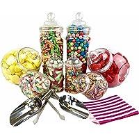 Ensemble pour buffet de bonbons Vintage Style victorien – 8 bocaux et sacs à rayures noires
