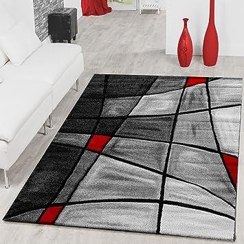 Amazonde Teppiche Wohnzimmer Teppich Porto Konturenschnitt In Grau Rot Schwarz AUSVERKAUF