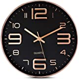 STAR WORK - Wall Clock -12 Inch Modern Digital Clock Silent Non Ticking Battery Operated Round Wall Clock Easy to Read Decora