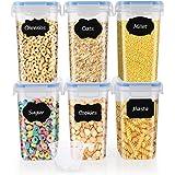 SOLEDI Boite de Rangement Cuisine Lot Carré de 6 Bocaux Hermetiques Alimentaires en Plastique Scellée avec Couvercle pour Sto