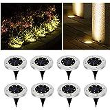 Wilktop Lampes Solaires pour Lampe Solaire de Jardin Lampadaire Blanc Chaud avec 8LEDs Lampadaire LED Extérieur IP65 8er dans