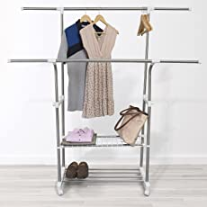 Comfold Telescopic Stainless Steel Double Rod Adjustable Cloth Hanging Rack