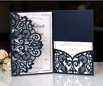BLUGUL 10 St/ück Hochzeit Einladungskarten Hollow Floral Design mit 2 Blanko-Karte Hochzeitskarten Dunkelviolett