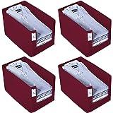 Kuber Industries 4 Piece Non Woven Shirt Stacker Wardrobe Organizer Set, Maroon-CTKTC31843