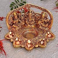 Collectible India Laxmi Ganesh Saraswati Idol Diya Oil Lamp Deepak - Metal Lakshmi Ganesha Showpiece Statue - Traditional Diya for Diwali Puja - Diwali Home Decoration Items Gift