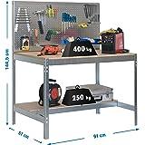 Simonrack 778100045159062 werkbank 1440x900x600 mm, 2 legplanken en 1 gatenplaat, 400 kg-250 kg, galvanisch/houtkleuren