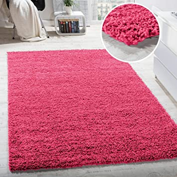 Shaggy Hochflor Langflor Teppich Sky Einfarbig in Pink / Rosa ...