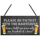 Red Ocean, plaque décorative à suspendre avec inscription amusante «Patient Bartender», cadeau pour propriétaire de pub