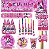 YUESEN Set de Fiesta de cumpleaños de Minnie Disney Minnie Mouse Party Decoration Set Platos Tazas Servilletas Pack de Fiesta