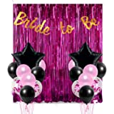 Party Propz 18Pcs Bride to Be Foil Curtain, Banner and Balloon Decoration Combo for Bridal Shower, Bachelorette Decoration, S