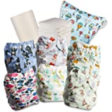 Littles and Bloomz Baby Reusable Pocket Nappy Cloth Diaper, Standard Popper, 6 Nappies + 6 Inserts, 1 Disposable Bamboo…