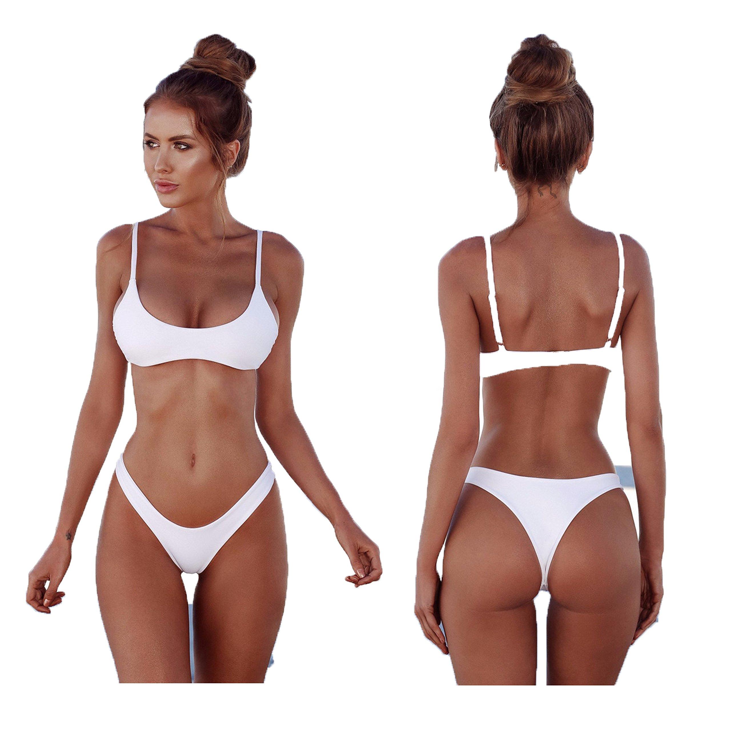 vendita scontata 03d37 f3971 2018 Womens Sexy tinta unita Bikini brasiliano Set-Triangolo perizoma Soft  imbottita perdita clivaggio Bikini Set 2 pezzi Costume da bagno - ...