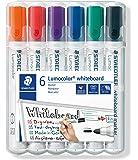 Staedtler Lumocolor 351, Marqueurs pour tableau blanc effaçables à sec, Sans xylène ni toluène et quasi-inodore, Pointe ogive de 2 mm, Étui chevalet avec 6 couleurs assorties, 351 WP6