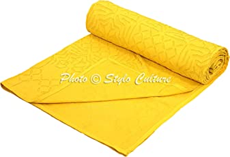 Indian Kantha Quilt Double Bedspread Yellow Cutwork Abstract Modern Blanket Bedding Bed Cover by Stylo Culture