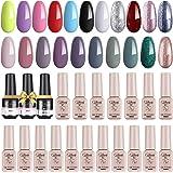 Creamify Esmaltes Semipermanentes de Uñas en Gel-21 Colores Esmaltes de Uñas en Gel con 3*8ml Base Kit de Esmaltes de Uñas UV