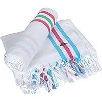 Sathiyas Supreme Turkish Cotton Bath Towel-2pcs Combo (White Stripe)