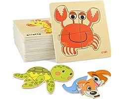 GOLDGE 16 Pezzi Giocattoli Bambini Animali da Puzzle di Legno, Giochi Bambina 1 Anno 2 3 4 Anni Educativo Pattern Blocchi Reg