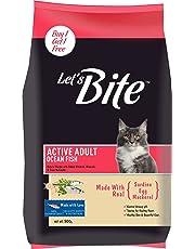 Let's Bite Active Adult(+1 Year) Dry Cat Food, Ocean Fish, 500gm (Buy 1 GET 1 Free)