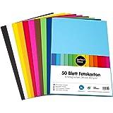 perfect ideaz cartulina cuché A4 de colores 50 hojas, cartulina, de color, en 10 colores diferentes, grosor de 300g/m², hojas