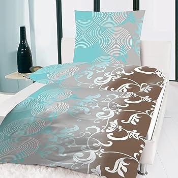 microfaser bettw sche modern aqua circle t rkis ocean braun blumenranken 155x220 cm. Black Bedroom Furniture Sets. Home Design Ideas