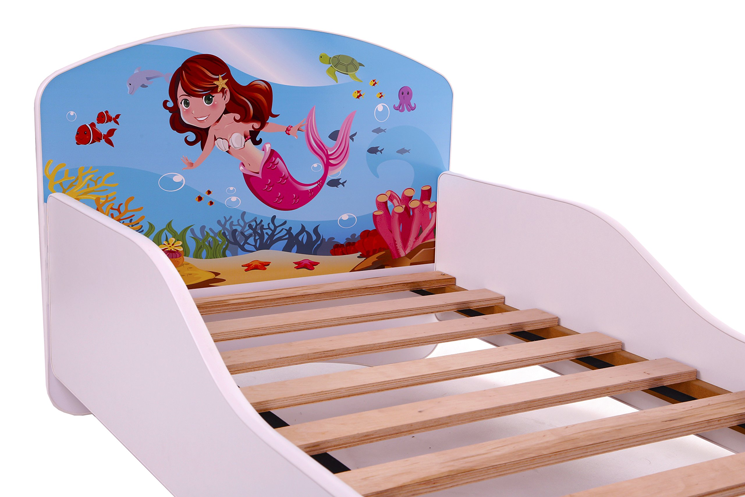 CHILDREN TODDLER KIDS BED + FREE MATTRESS ACMA I WHITE ... 140x70 160x80 180x80 40 Designs (09 Mermaid, 140x70 cm + drawer)  ACMA