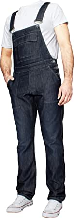 "Enzo Jeans Mens Denim Stonewash Blue Dungarees Dungaree King Size Overalls 30"" - 50"""