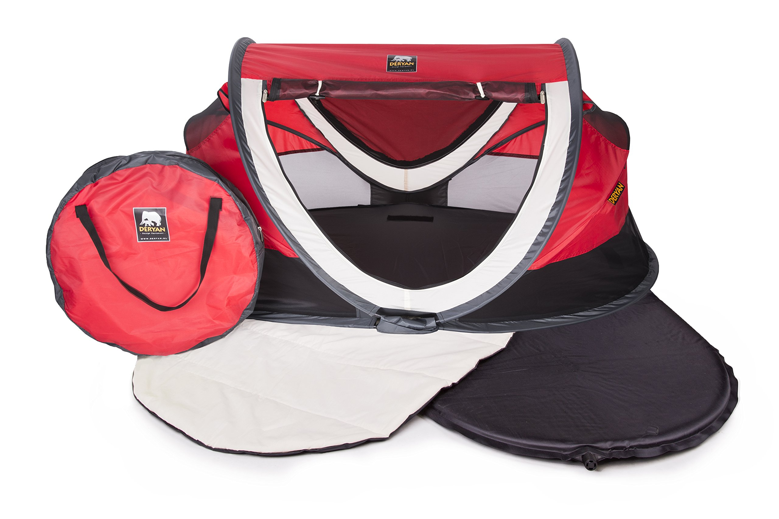 Travel Cot Peuter Luxe (Red) Deryan Perfect for the beach, the park or the back garden for playing in or for naps Can Pops up immediately, no poles or fiddly frames to put together. Lightweight and compact in its zip up bag 5