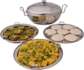 Kitchen Care 3 In1 Induction With Capsual Bottom Stainless Steel Multi Kadhai With Lid And Plate Set