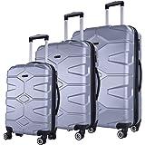 SHAIK SERIE RAZZER SH002 3-tlg. DESIGN RAZZER Hartschalen Kofferset, Trolley, Koffer, Reisekoffer, 4 Doppelrollen, 25% mehr Volumen durch Dehnfalte (Silber)