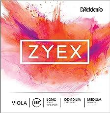 D'Addario Zyex Viola String Set, Long Scale, Medium Tension