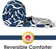 Divine Casa Microfibre Comforter/Blanket/Quilt/Duvet Lightweight, All Weather, Reversible Single Comforter, Navy Blue and Wh