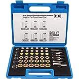 CCLIFE 114 Pezzi Attrezzi per Riparazione Filettatura Auto, M13 - M22, Tappo di Scarico dell'Olio, Kit Tappi Olio