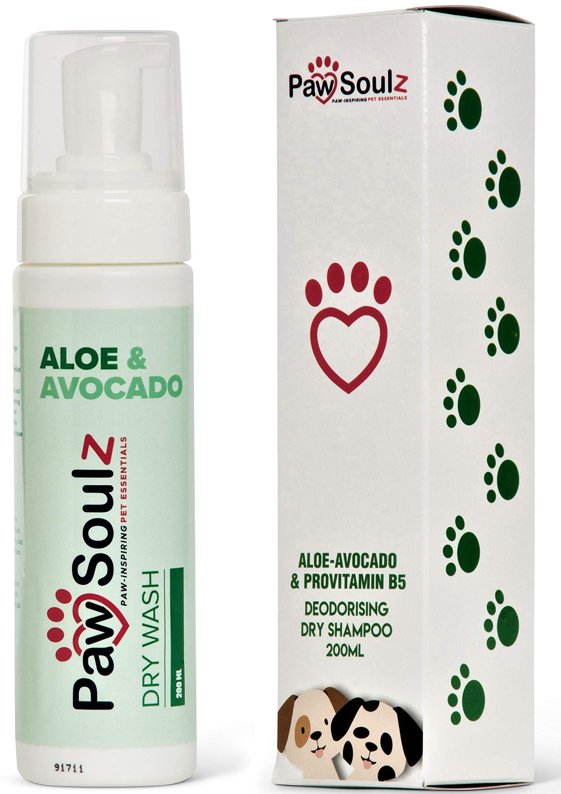 Paw Soulz – Advanced Dry Dog Shampoo – Aloe – Avocado – Provitamin B5 – Natural – Cruelty Free – Deodoriser Spray Foam…