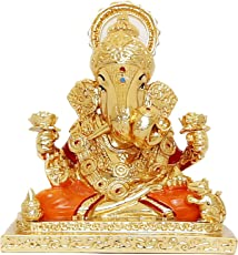Chintamani Artstm Gold Plated Divine Ganesh Idols/Car Dashboard Idols
