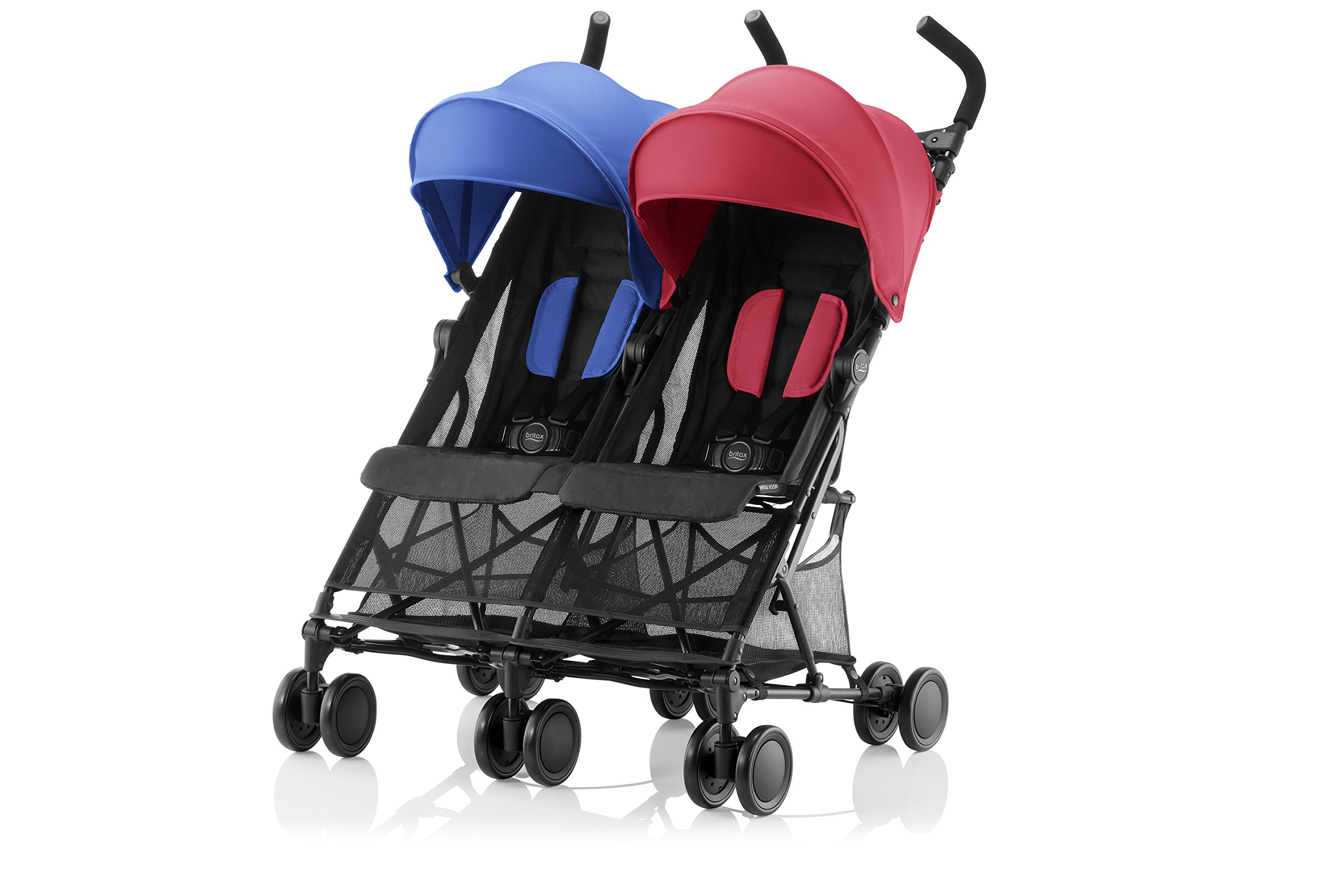 Britax Römer HOLIDAY DOUBLE Pushchair and Raincover (6 Months-15kg|3 years) - Red/Blue Britax Römer With its easy fold the buggy reduces to a compact size that is not only freestanding, but also easy to handle with the convenient carry straps The backrests can be reclined independently which gives you the flexibility to provide a relaxing sleeping position for each child individually To keep your child comfortable on hot days, the seat unit has mesh panels and the large hood has a sun visor, proividing protective shade for each little passenger 2