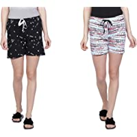 Club A9 Women Cotton Printed Shorts | Lounge Shorts(Pack of 2)
