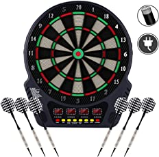 Ancheer Elektronische Dartscheibe, E Dartboards Dartautomat mit 6 Dartpfeile, Ersatzsspitzen, 27 Spielen und 243 Varianten für 16 Spieler