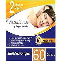Sleepeze Remedies®, strisce nasali, misura media, confezione da 60 pezzi, aiutano a smettere di russare