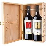 Cassetta da 2 bottiglie: Primitivo di Manduria e Negroamaro di Terra d'Otranto Notte Rossa 0,75 L, Cassetta di legno
