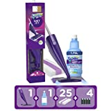 Swiffer WetJet Starter Kit Scopa Elettrica Lavapavimenti, 25 Panni Lavapavimenti, 2 Soluzioni Detergente, 4 Batterie Alcaline