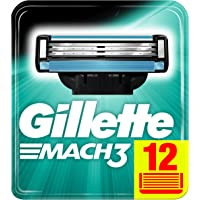 Gillette Mach3 Lamette di Ricarica per Rasoio da Uomo, Confezione da 12 Lamette di Ricambio