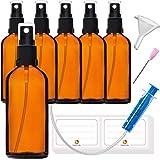 6 x 100 ml sprayflaska, liten glasflaska med atomiser - Apotekarglasspruta flaska tillverkad av brunt glas set. Inkluderar 16