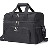 Lifewit Cooler Bag Insulated 32-Can Large Shopping Bag, 23L Double Decker Soft Cooler Soft-Sided Cooling Bag for Beach/Picnic/Sports (Black)