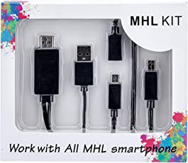 Micro USB MHL to HDMI Cable Adapter HDTV for only use HTC ECO OPTIMUS, HTC OME SERIES, HTC DROID DNA, LG OPTIMUS SERIES, SONY XPERIA SERIES, ASUS PADFONE 2, HUAIWAI ASCEND SERIES ZTE ,OPPO, MI MEIZU, SHARP (Black)