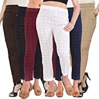 Rolgo1 Women's/Girls/Ladies Spandex Check Pattern Combo (Color as per Availability) size-28-32 Buy 2 Get 3 Free