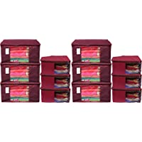 Kuber Industries Non Woven 6 Piece Saree Cover/Cloth Wardrobe Organizer and 6 Pieces Blouse Cover Combo Set (Maroon…