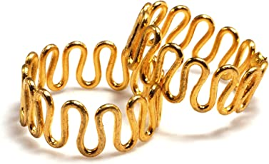 Deccani Handicrafts Daily Use Metal Alloy (Panchaloha) Expandable Wavy Pattern Gold Toe Ring For Women