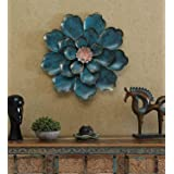The Indian Craft House Blue Metal Shine Flower 3D Wall Iron Art Sculpture Inspired By Nature Beauty Handcrafted By Indian Art