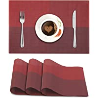 HOKIPO® PVC Vinyl Washable Table Mats for Dining Table - 45x30 cm Placemats Set of 4, Red (AR613)