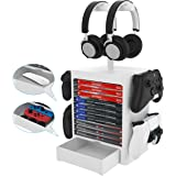 EJGAME Multifunctional Game Disk Storage Tower Holder for PS5,Game Disk Rack and Controller/Headset Stand Holder Compatible w